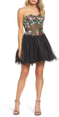 Blondie Nites Embroidered Lace Fit & Flare Dress