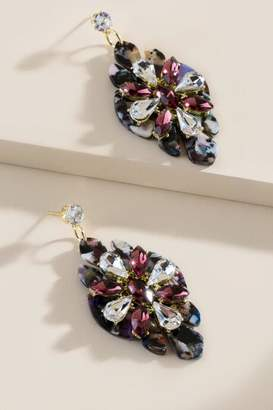 francesca's Genevieve Crystal Drop Earrings - Purple