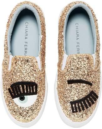 Chiara Ferragni Flirting Eyes Glittered Slip-On Sneakers