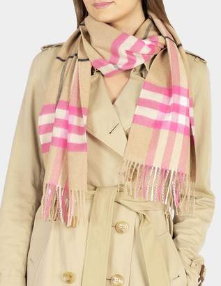 Burberry 168X30 Fluoro Giant Icon Check Cashmere Scarf in Bright Peony Cashmere