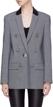 Alexander Wang Velvet collar leather sleeve houndstooth blazer