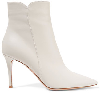Levy Leather Ankle Boots - Off-white