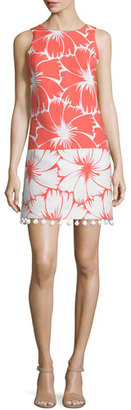 Trina Turk Sleeveless Colorblock Floral-Print Dress, Coral $368 thestylecure.com