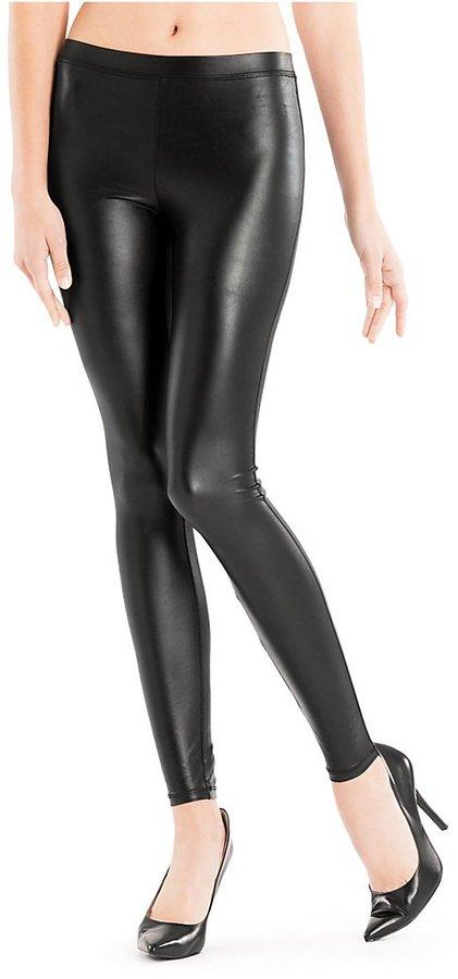 GUESS Sleek Wet-Look Knit Leggings