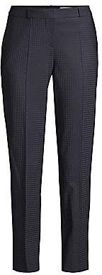 BOSS Women's Tiluna Regular-FIt Stretch Wool-Blend Shadow Check Cropped Suiting Trousers - Size 0