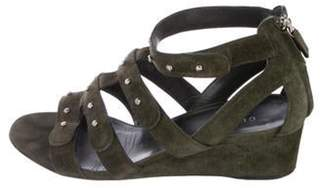 Gucci Suede Caged Wedges Olive Suede Caged Wedges