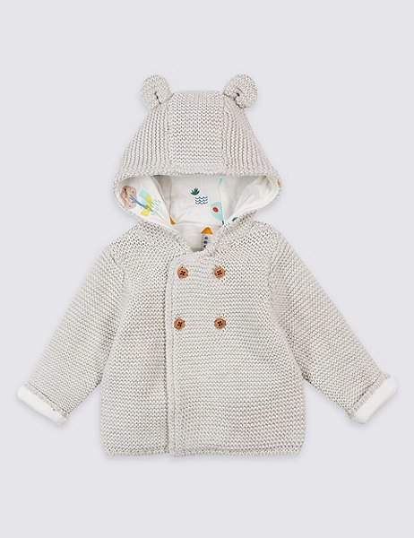 Pure Cotton Chunky Knit Hooded Cardigan
