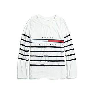 Tommy Hilfiger Women's Adaptive Long Sleeve T Shirt with Velcro Brand at Shoulders,LG