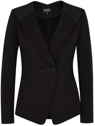 Emporio Armani Black Ribbed Stretch-knit Jacket