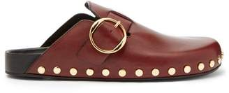 Isabel Marant Mirvin Stud Embellished Leather Clogs - Womens - Burgundy