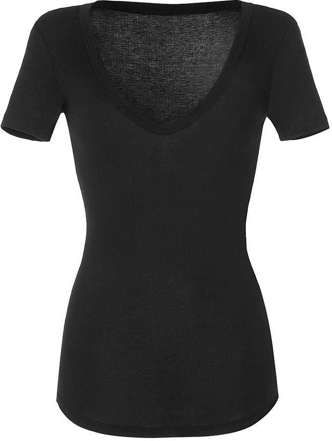 James Perse Black S/S Deep V-Neck Rib T-Shirt