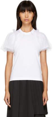 Noir Kei Ninomiya White Tulle Sleeve T-Shirt