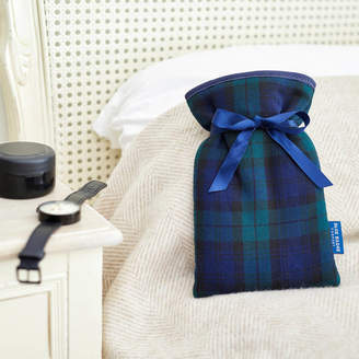 Blue Badge Co Mini Hot Water Bottle And Cover In Blackwatch Tartan