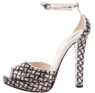 Bottega Veneta Sequin Platform Sandals