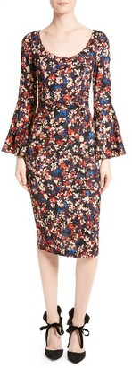 Women's Tracy Reese Print Stretch Silk Bell Sleeve Dress $348 thestylecure.com
