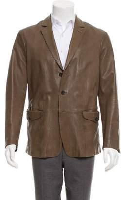 John Varvatos Leather Notched-Lapel Sport Coat