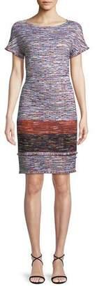 St. John Multi-Tweed Knit Fringe Short-Sleeve Dress