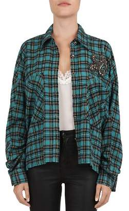 The Kooples Embellished Fleur-de-Lis Plaid Cocoon Shirt