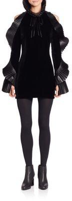Ralph Lauren Collection Priscilla Leather-Trimmed Velvet Dress $3,490 thestylecure.com