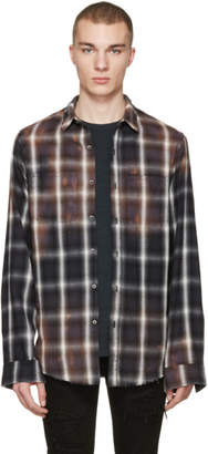Amiri Black Spray Plaid Shirt