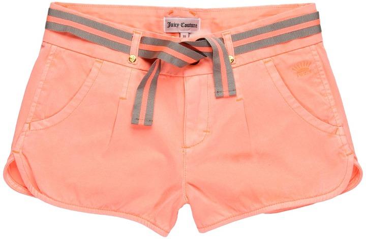 Juicy Couture Girls' Cotton Twill Short (Big Kids) (UV Orange) - Apparel