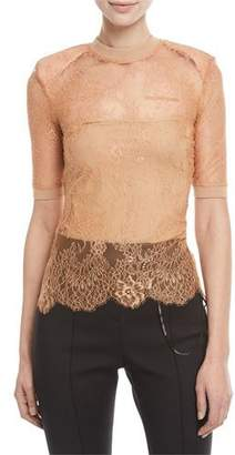 Off-White Short-Sleeve Crewneck Sheer Lace Top w/ Shoulder Pads