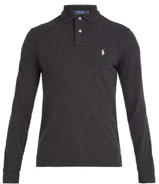 Polo Ralph Lauren Logo Embroidered Long Sleeved Cotton Polo Shirt - Mens - Grey