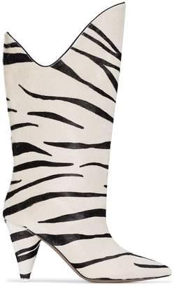 ATTICO white Betta 85 zebra print pony hair leather mid-calf boots