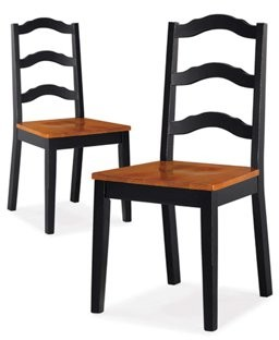 Better Homes & Gardens Better Homes and Gardens Autumn Lane Ladder Back Dining Chairs, Set of 2, Black and Oak