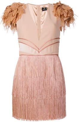 Elisabetta Franchi fringed V-neck dress