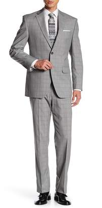 Perry Ellis Gray Plaid Two Button Notch Lapel Modern Fit Suit
