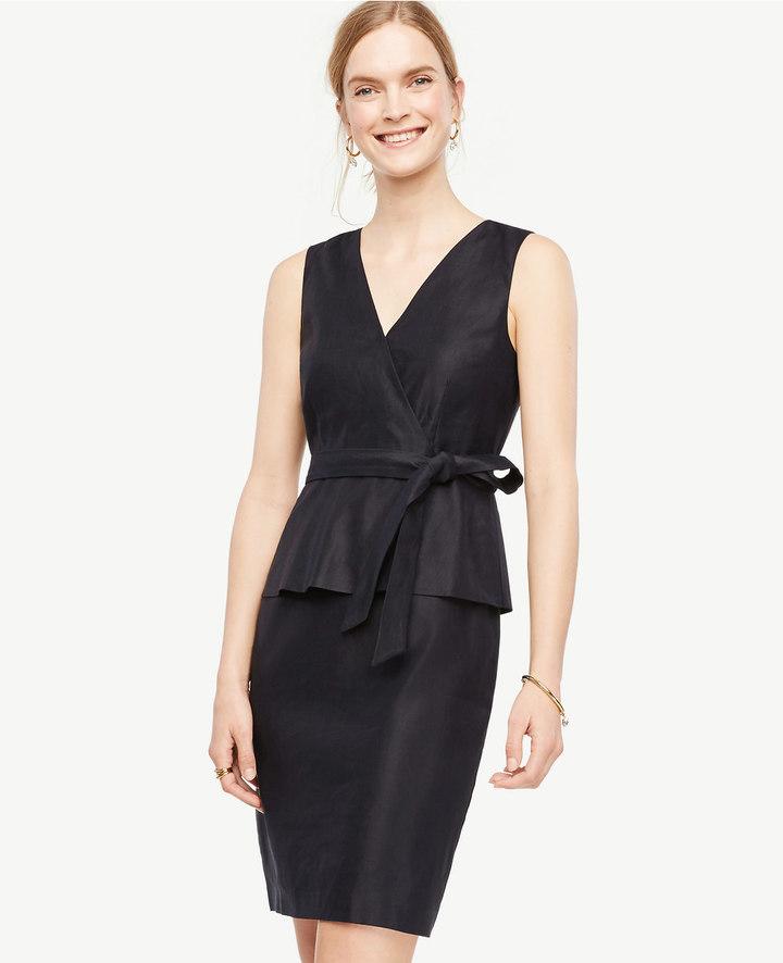 Belted Peplum Sheath Dress