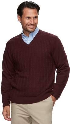 Haggar Men's Classic-Fit Fine-Gauge Cable-Knit V-Neck Sweater