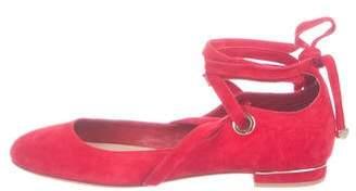 Diane von Furstenberg Suede Ankle-Strap Flats