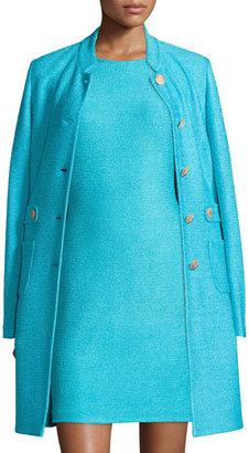 St. John Collection Windy Knit Topper Jacket w/ Waist Tabs, Aqua $1,695 thestylecure.com