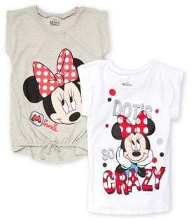 Nannette Girl's Set of Two Minnie Mouse Graphic Cotton Tops