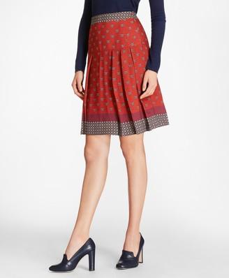 Brooks Brothers Foulard Silk Georgette Pleated Skirt
