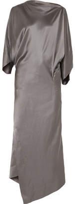 Vivienne Westwood Draped Hammered Silk-satin Midi Dress - Gunmetal