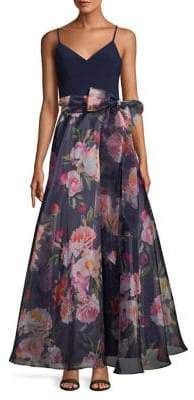 Eliza J Floral Self-Tie Tulle Gown