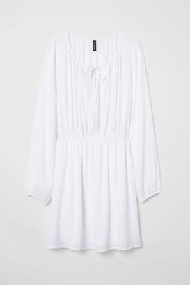 H&M Long-sleeved Dress - White