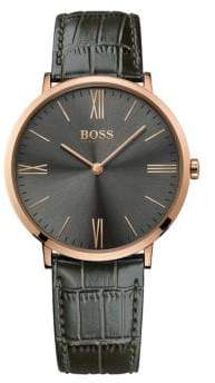 HUGO BOSS Jackson Rose Goldplated Stainless Steel Sunray Dial Leather Strap Watch