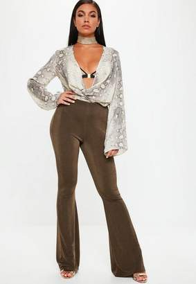 Missguided Gold Slinky Kickflare Pants
