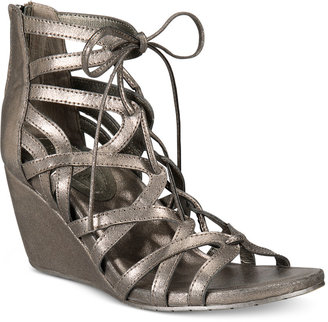 Kenneth Cole Reaction Women's Cake Pop Gladiator Lace-Up Wedge Sandals Women's Shoes $79 thestylecure.com