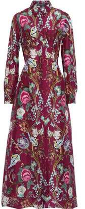 Alberta Ferretti Floral-print Silk Crepe De Chine Maxi Shirt Dress