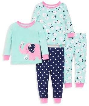 Little Me Little Girl's Four-Piece Floral Elephant Pajama Set