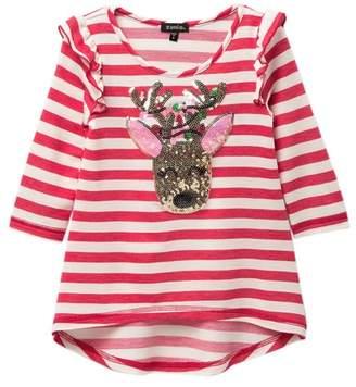 Zunie 3\u002F4 Ruffle Sleeve Stripe High Low Top (Little Girls & Big Girls)