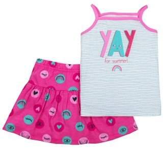 Little Star Organic Little Star Toddler Girl Tank Top & Skirt, 2pc Outfit Set
