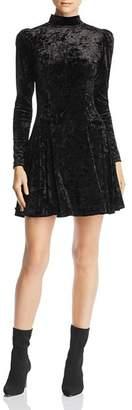 Aqua Puff-Sleeve Crushed-Velvet Swing Dress - 100% Exclusive