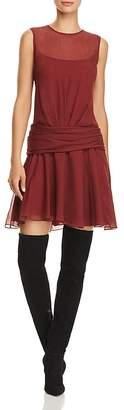 Theory Printed-Silk Mini Dress