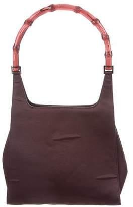 Gucci Vintage Satin Bamboo Shoulder Bag